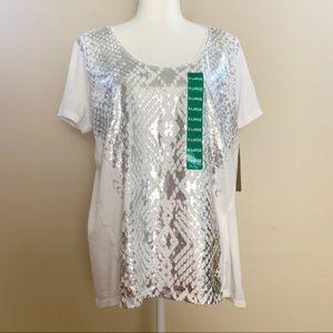 NWT DKNY Deep Scoop Neck White Shirt Size XL